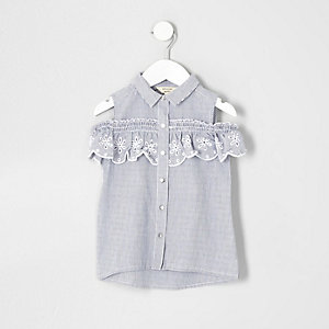 Mini girls blue stripe cold shoulder shirt