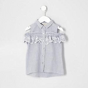 Mini - Blauw gestreept schouderloos overhemd voor meisjes