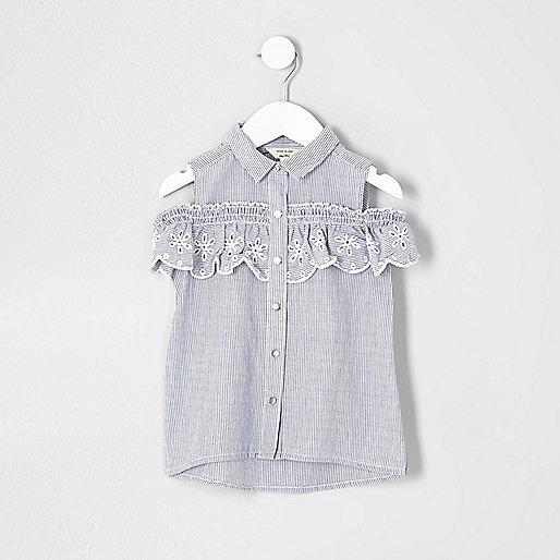 Mini girls blue stripe cold shoulder shirt