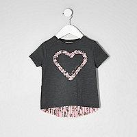 Mini girls dark grey heart pleated T-shirt