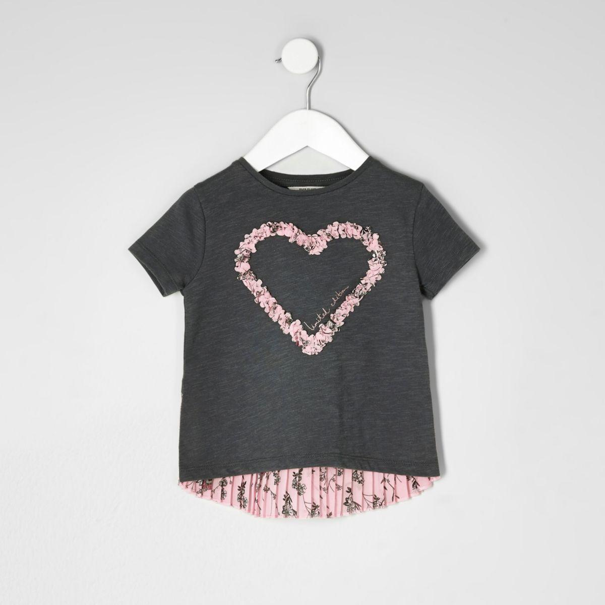 T-shirt motif cœur gris foncé plissé mini fille