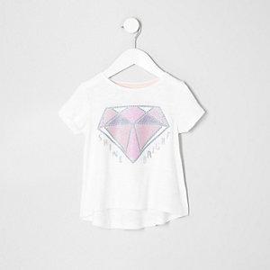 Paillettenverziertes T-Shirt in Creme