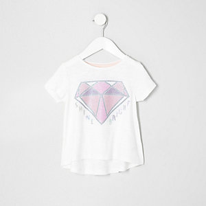 Mini girls cream diamond sequin T-shirt