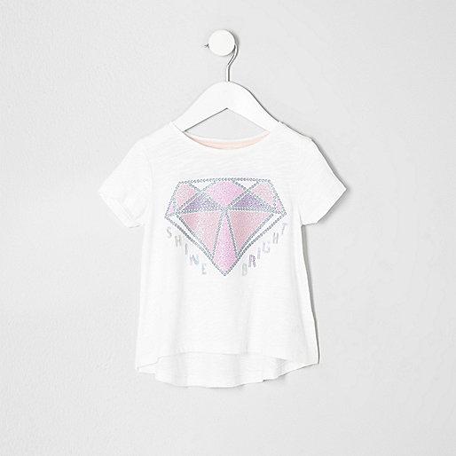 Mini girls cream diamond sequin T-shirt
