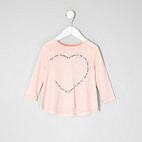 Mini girls pink rhinestone heart print T-shirt