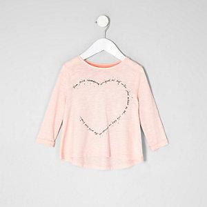 Mini - Roze T-shirt met hartenprint en siersteentjes voor meisjes