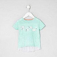 Mini girls green 'adore' pleated back T-shirt