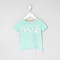 Mini girls green 'adore' pleated back T-shirt