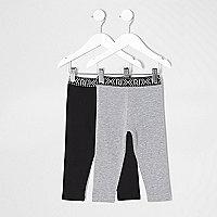 Mini girls black and grey leggings