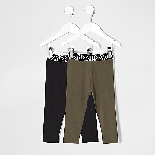 Mini girls khaki and black leggings pack