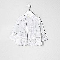 Mini girls white broderie kimono
