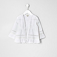 Kimono brodé blanc pour mini fille
