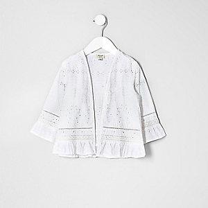 Mini - Witte broderie kimono voor meisjes