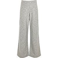 Girls grey soft ribbed palazzo pants