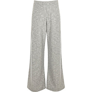 Girls grey soft ribbed palazzo trousers