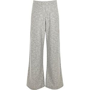 Pantalon palazzo gris doux côtelé pour fille