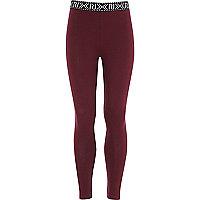 Girls red RI branded leggings