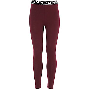 Girls red RI branded leggings
