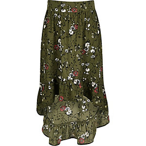 Girls khaki floral asymmetric hem maxi skirt