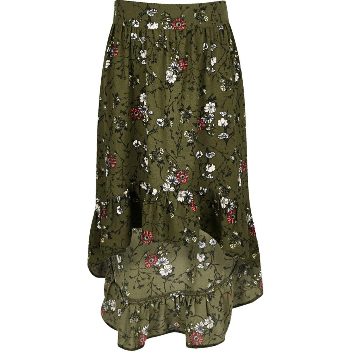 Girls khaki floral asymmetric hem maxi skirt