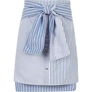 Girls blue mixed stripe tie waist mini skirt