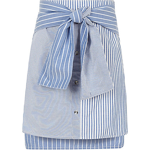 Girls blue mixed stripe tie waist mini skirt