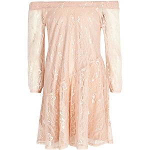 Girls pink lace bardot dress