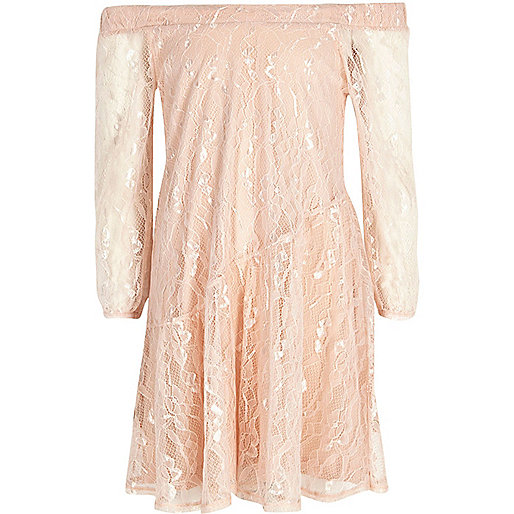 Girls pink lace bardot dress