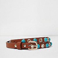 Girls tan blue gemstone belt