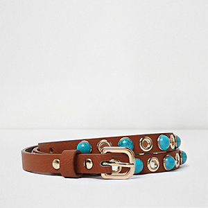 Girls tan blue gemstone belt