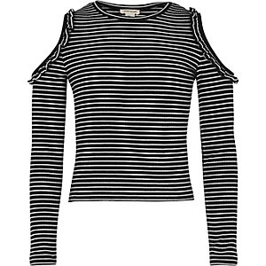 Girls black stripe ruffle cold shoulder top