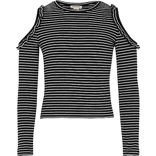 Girls black stripe ruffle cold shoulder top