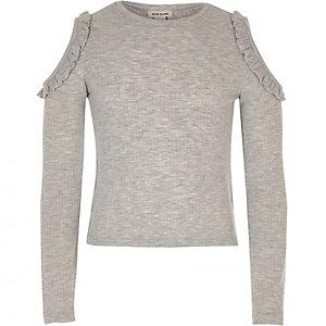 Girls grey ruffle cold shoulder top