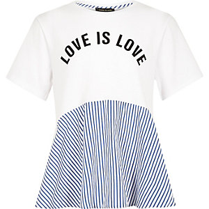 Girls white 'love' stripe peplum hem T-shirt