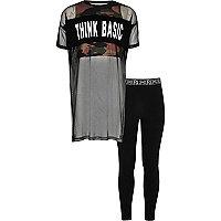 Girls mesh camo top and leggings set