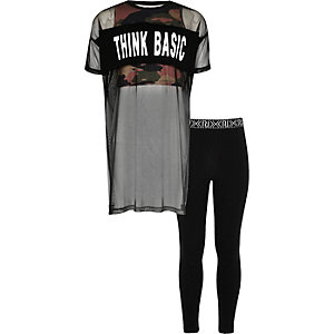 Girls mesh camo top and leggings set