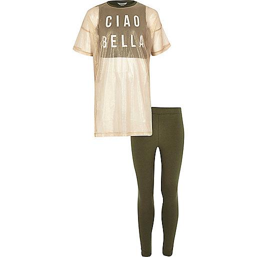 Girls khaki mesh top and leggings set