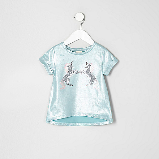 Mini girls turquoise metallic unicorn T-shirt