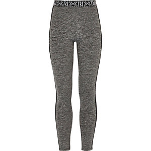 Girls grey mesh panel leggings