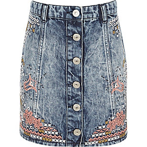 Girls blue acid wash denim embroidered skirt