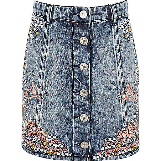 Girls blue acid wash denim embroidered skirt