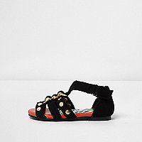 Mini girls black studded sandals