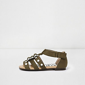 Mini girls khaki green studded sandals