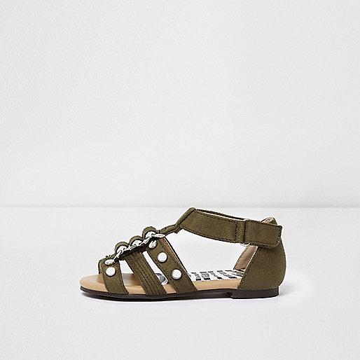 Mini girls khaki green studded sandals
