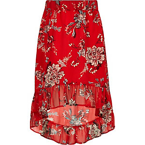 Girls red floral high-low hem maxi skirt
