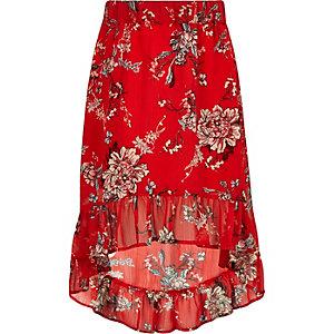 Jupe longue à fleurs rouge avec ourlet asymétrique pour fille