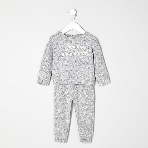Mini girls grey heartbreaker joggers set