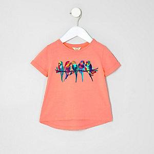 T-shirt motif perroquet brodé corail mini fille