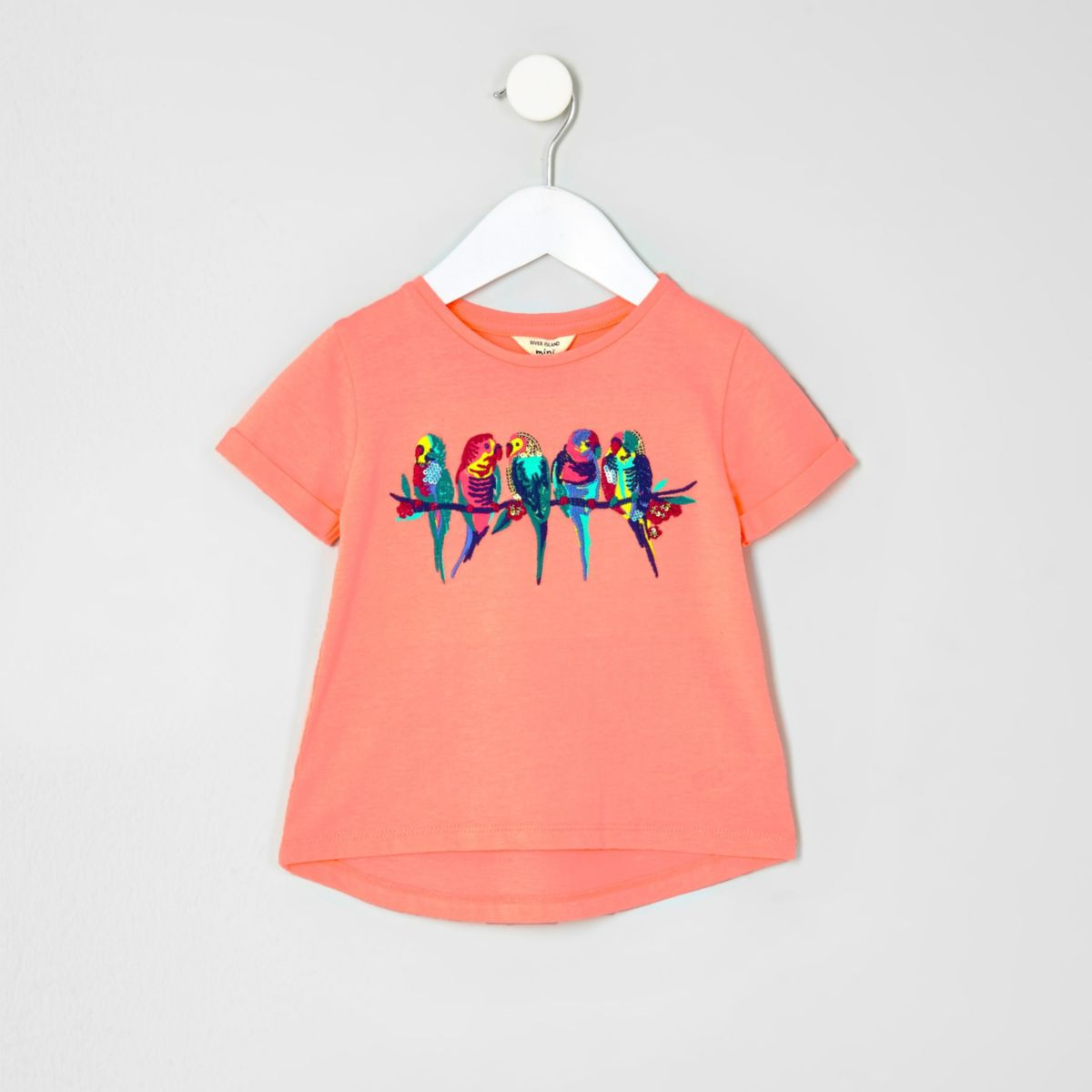 Mini girls coral parrot embroidered T-shirt