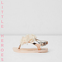 Mini girls gold corsage jelly sandals